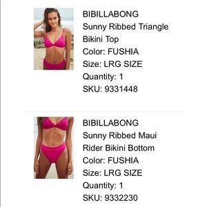 NWT Billabong magenta ribbed cheeky bikini